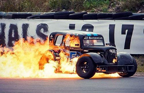 race car on fire