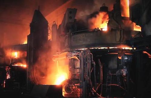 flames in a steel mill